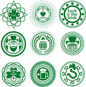 Set of Typographic Design Badges for Saint Patrick's Day