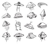 Set of UFOs. Vector illustration.