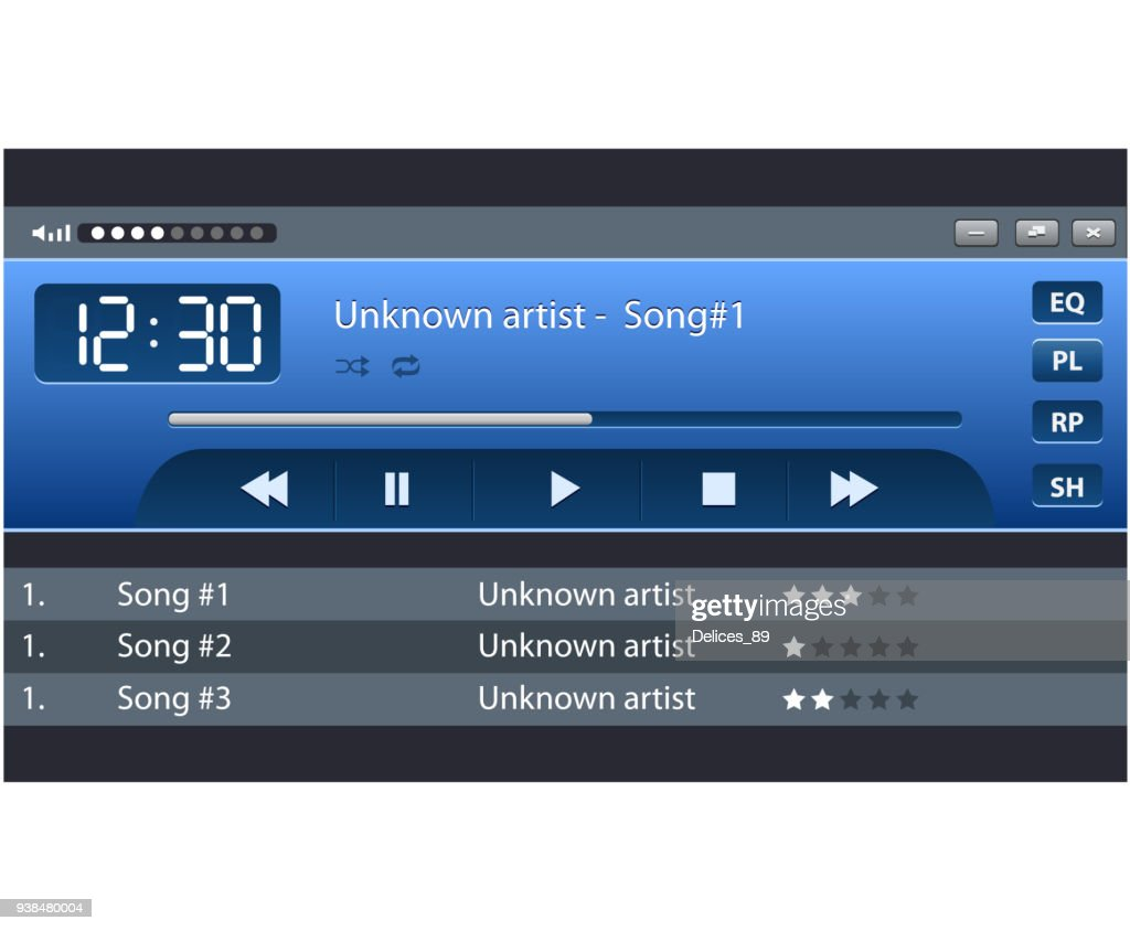 Set of ui ux audio and video media player template
