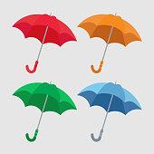 set of umbrellas close-up, multicolored umbrella icon, flat design
