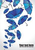 Set of umbrellas on white