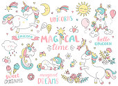 Set of unicorns and other magic elements.