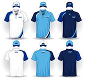Set of uniform template, polo shirts and caps.