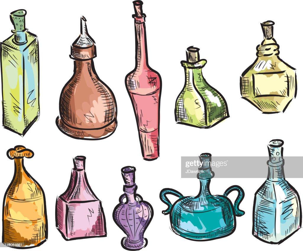 Set of unique decorative glass bottles : stock illustration