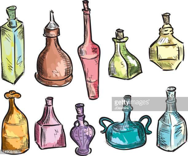 set of unique decorative glass bottles - potion stock illustrations
