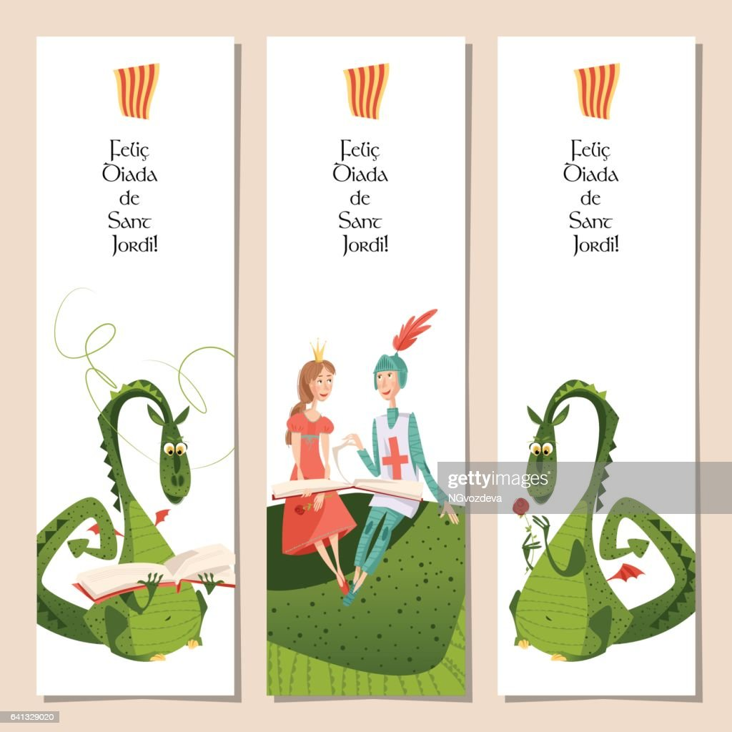 Set of universal bookmarks with princess, knight and dragons. Diada de Sant Jordi (the Saint George's Day). Congratulations. Template.