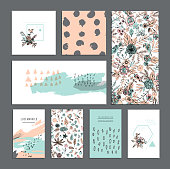 Set of universal cards. Hand Drawn textures.