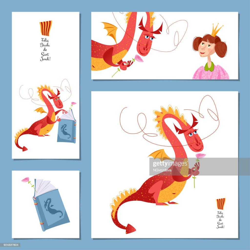 Set of universal cards with princess and dragon. Diada de Sant Jordi (the Saint George's Day). Congratulations. Template.