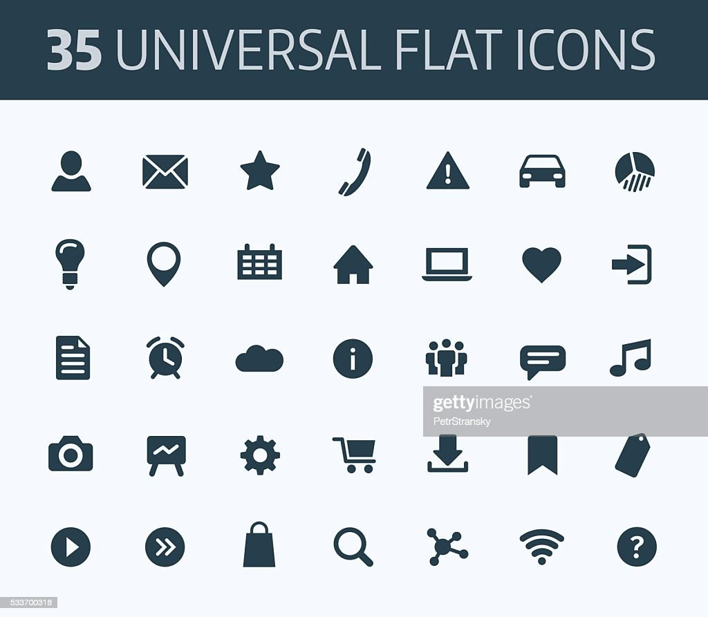 Set of universal flat icons for print or internet.