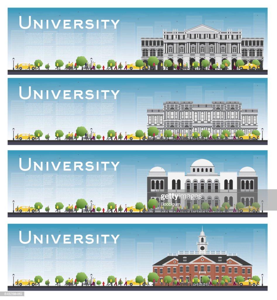 Set of university study banners.