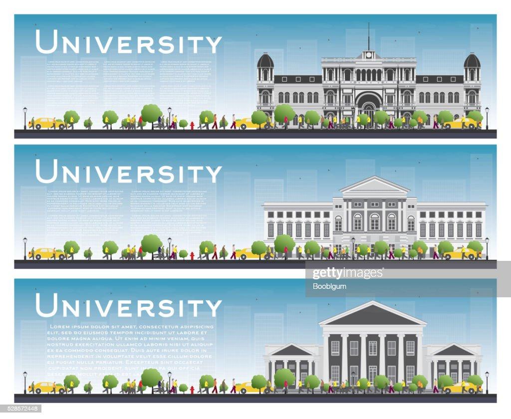 Set of university study banners. Vector illustration.