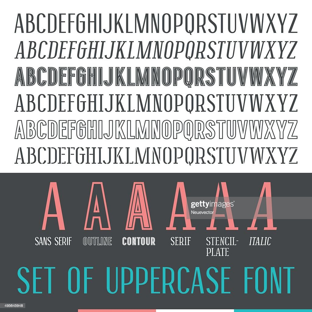 Set of uppercase narrow font
