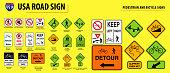 set of USA road sign.