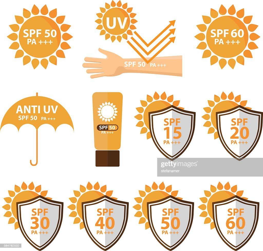 Set of UV Sun Protection and anti UV icon