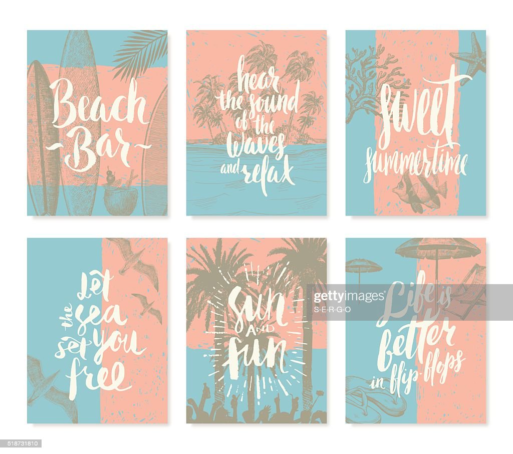 Set of vacation and summer holidays posters or greeting card