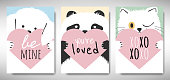 Set of Valentines day card template design, dog, panda and cat holding heart with love message, simple pastel  theme