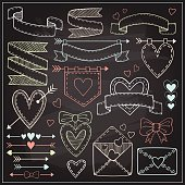 Set of Valentine`s Day design elements on chalkboard