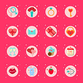 set Of Valentines Day Icons Presents, Boxes Romantic Holiday Elements Collection On Pink Background
