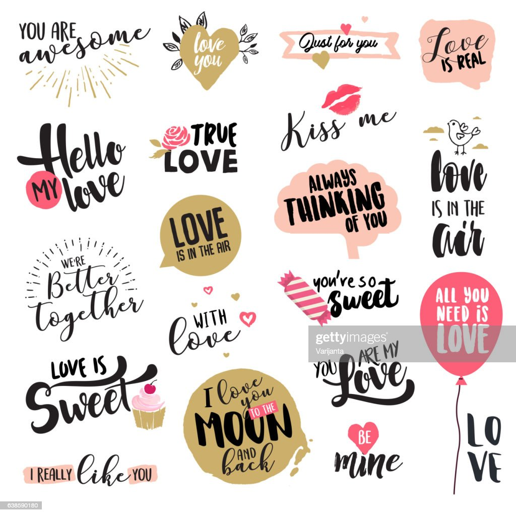 2b22502c8b3 Set of Valentine s day stickers and badges   stock vector