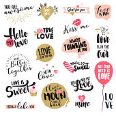 Set of Valentine's day stickers and badges