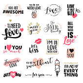 Set of Valentine's day stickers and elements