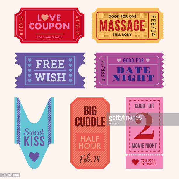set of valentine's day tickets and coupon. - coupon stock illustrations