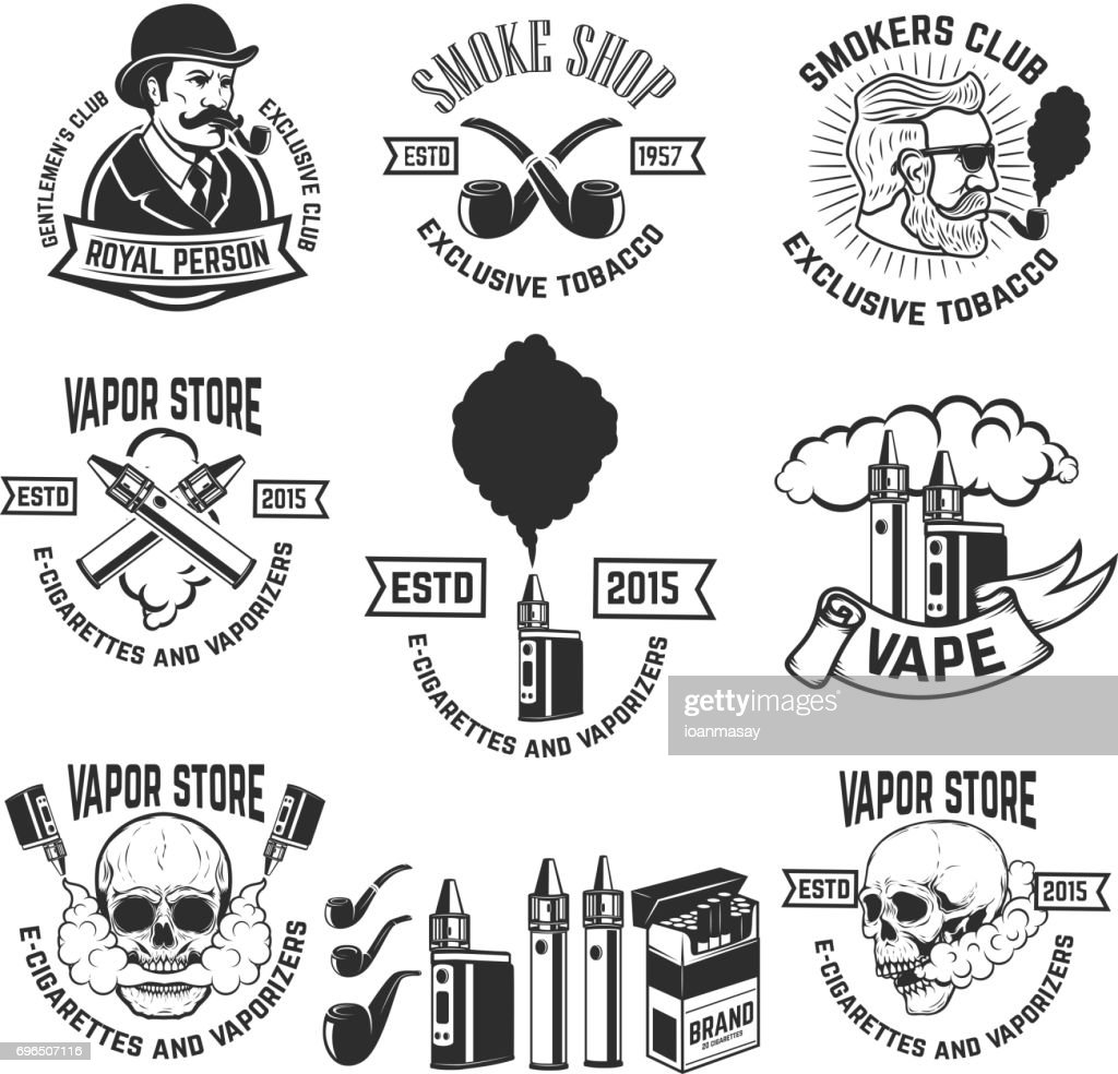 Set Of Vape Shop Emblem Templates Smoke Shop Design Elements For ...