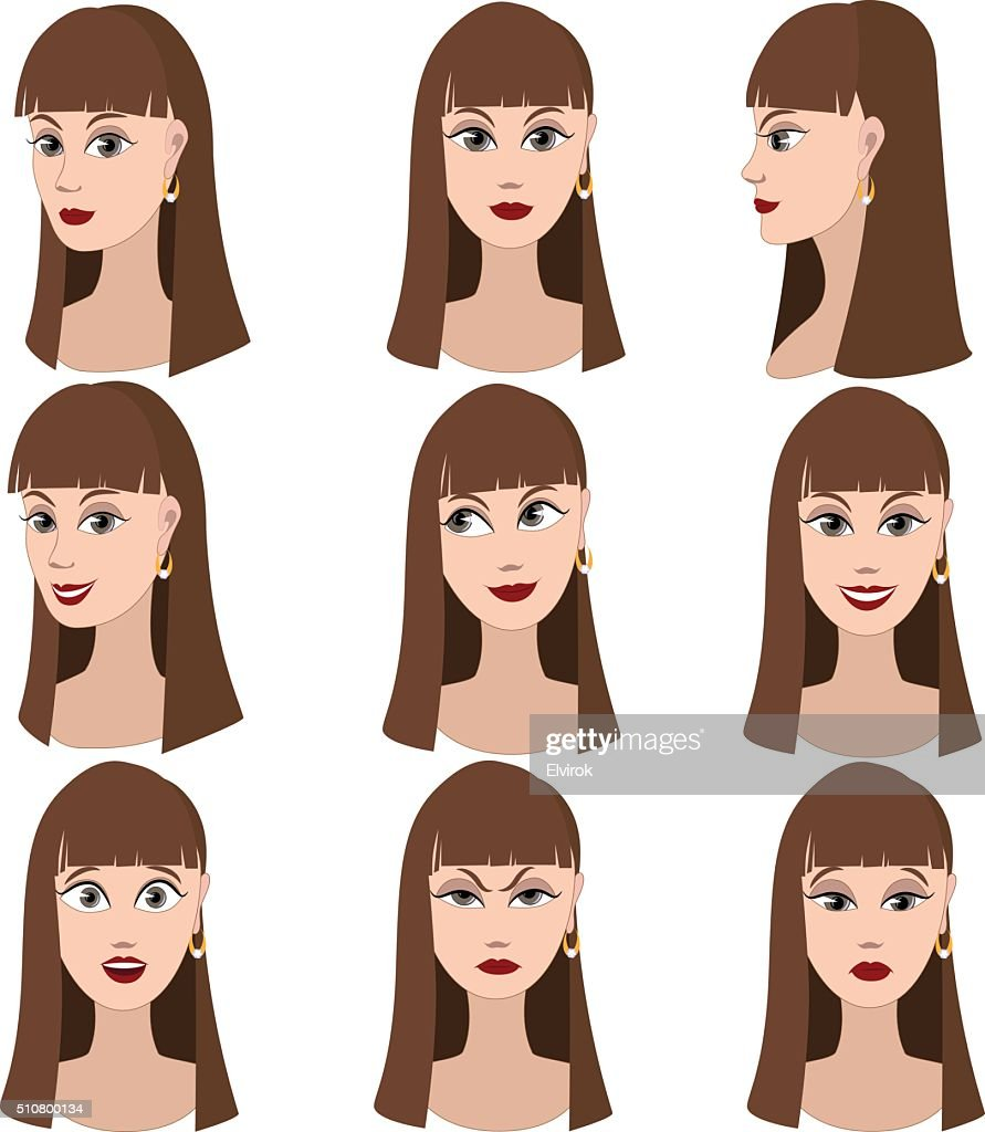 Set of variation of emotions of the same woman