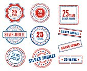 Set of various 25th anniversary Silver Jubilee stamps