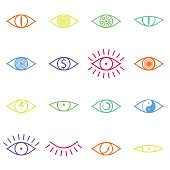 Set of Various Color Eye Icons on White Background