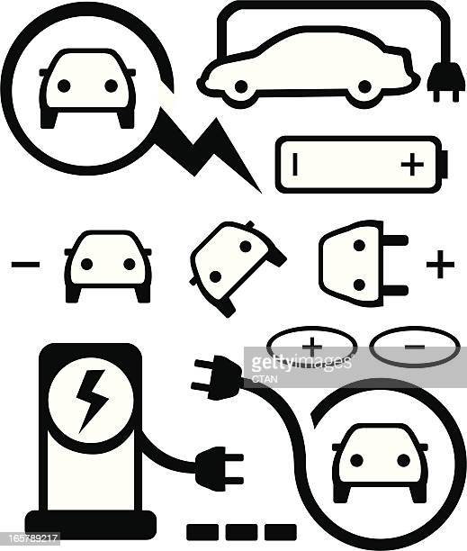 set of various electric car icons - animals charging stock illustrations, clip art, cartoons, & icons