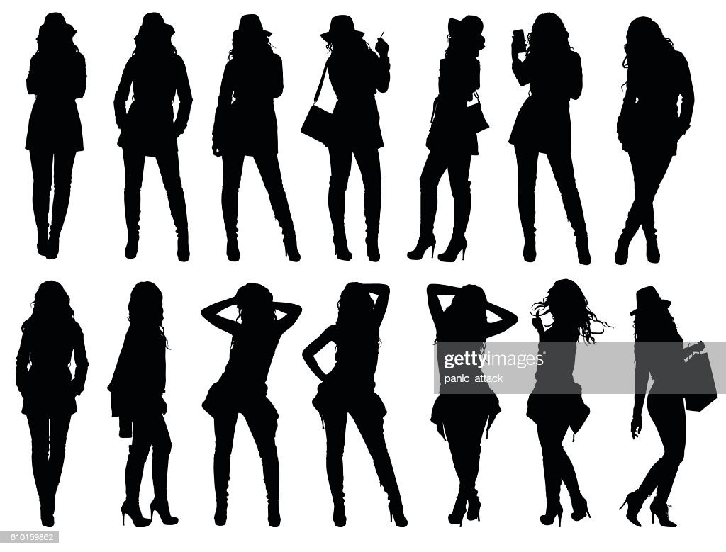 Set of various fashion woman silhouettes.