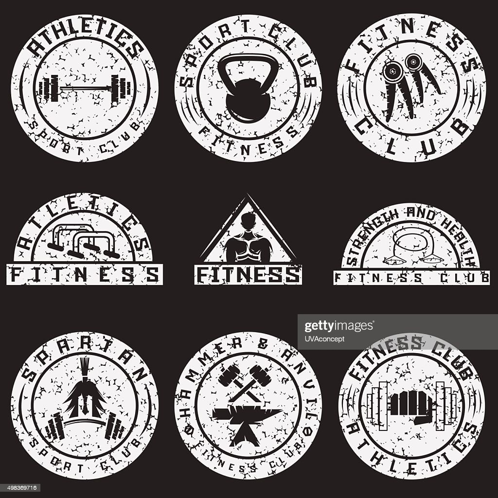 Set of various fitness grunge labels and design elements
