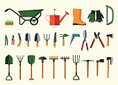 Set of various gardening items.