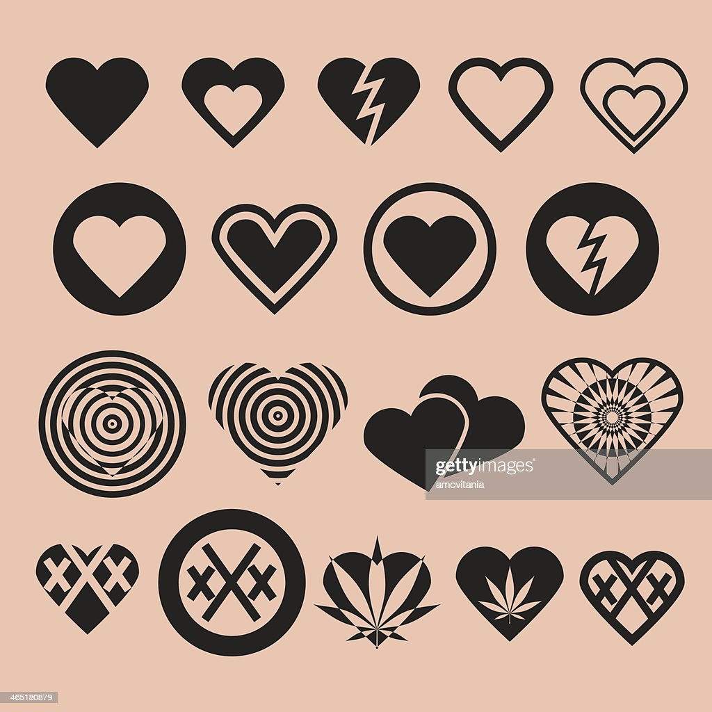 Set of Various Heart Icons