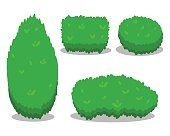 Set of Various Isolated Bushes. Cool simple flat design with shadows. Different Shapes of Bushes. Illustration.