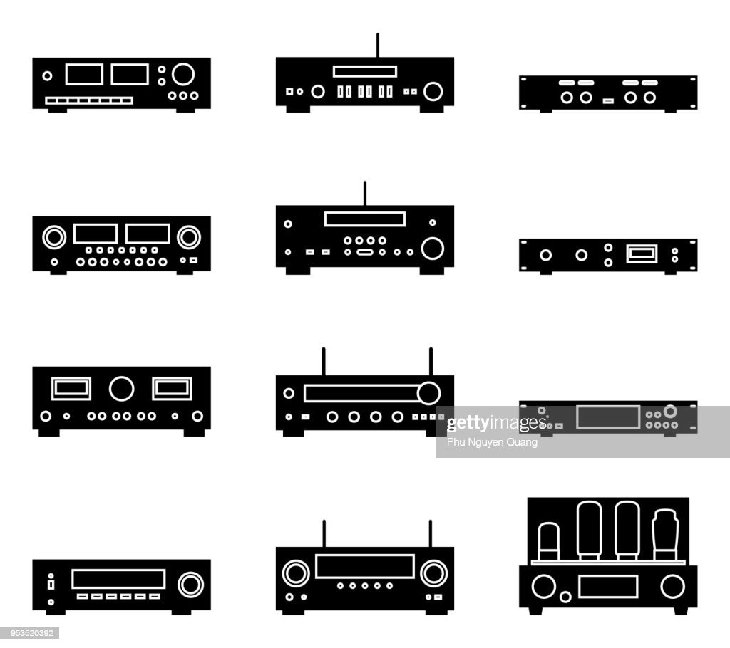 Set of various kinds of audio equipment. Silhouette vector icons