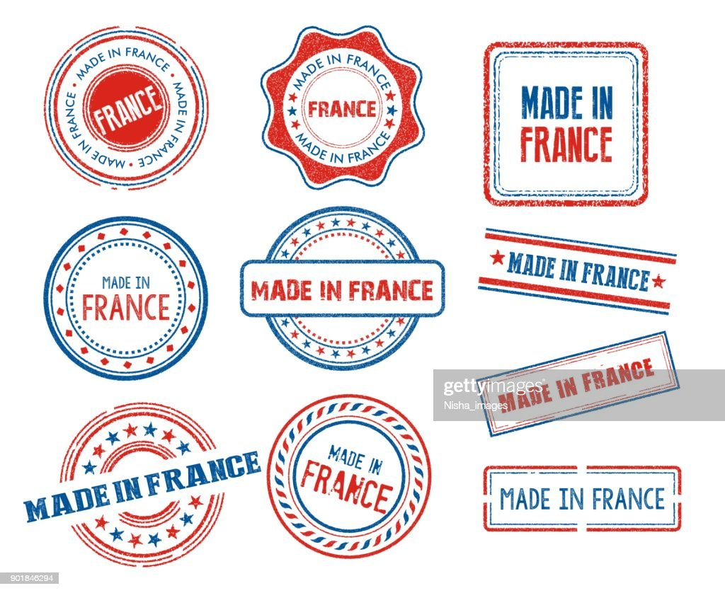 Set of various made in France stamps