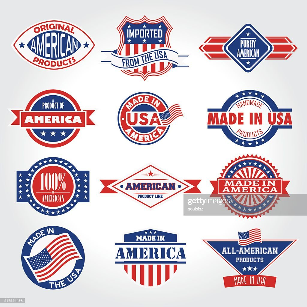Set of various Made in the USA graphics labels badge