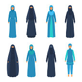 Set of various middle east women in national religious apparel.