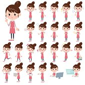 Set of various poses of Apron Bun hair mom