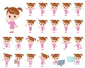 Set of various poses of pink clothing girl