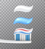 Set of various tooth paste samples with a tooth brush on checkered background - vector illustration