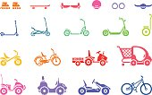 Set of various types children's vehicles and means of transportation on wheels