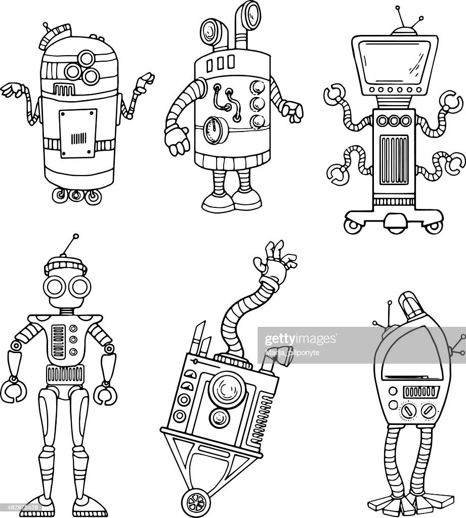 Set of various unique robots