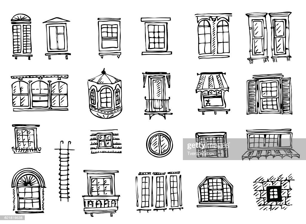 set of various window shapes