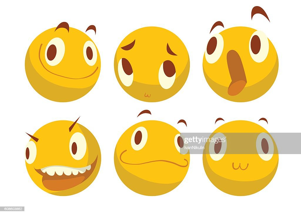 Set of various yellow emoticons