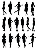 Set of various young fashion woman silhouettes in different clothes and poses