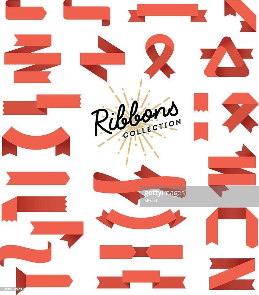 Set of variously shaped ribbon banners, flat design