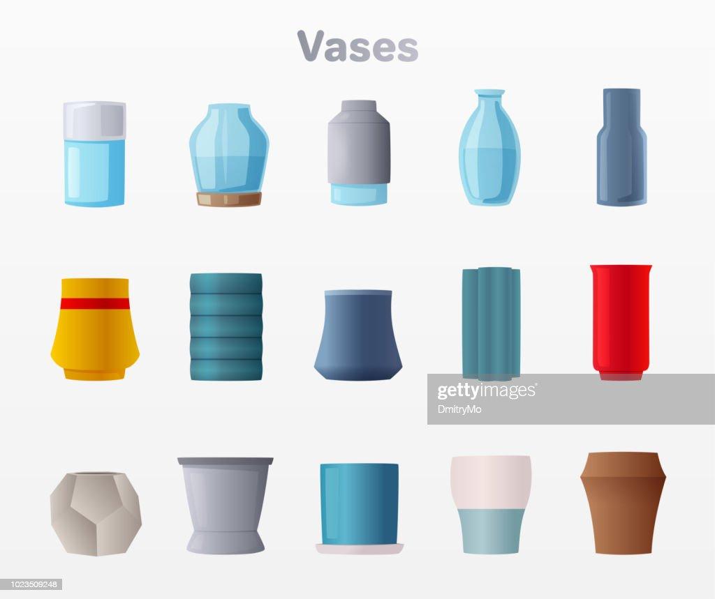Set of vases. Cartoon vector illustration
